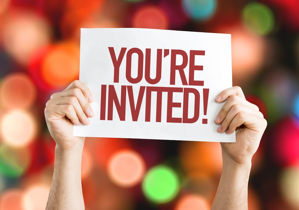Image shows a banner with the words 'You're invited'
